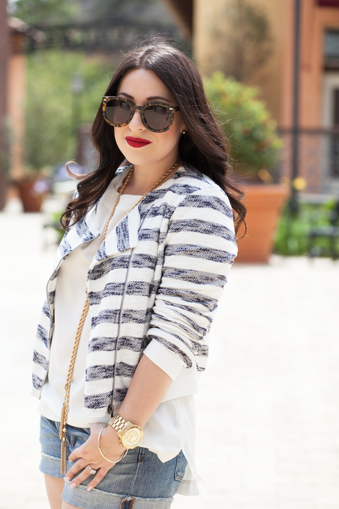 le-tote-cropped-striped-jacket-jcrew-denim-shorts-karen-walker-sunglasses-ily-couture-tassel-necklace-stila-red-lipstick-king-and-kind