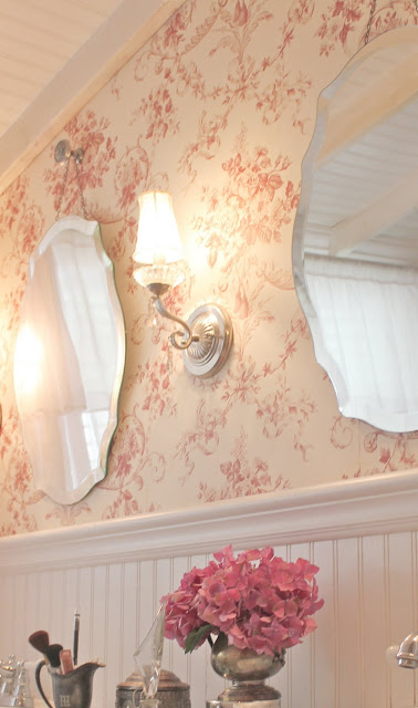 French cottage toile french country cottage for French country bathroom wallpaper
