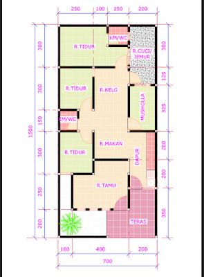 denah rumah 3 kamar tidur 1 mushola