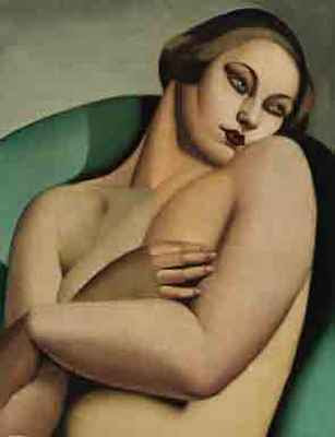 This lounging nude - Nu adossé I (1925) - by famous Art Deco artist Tamara ...