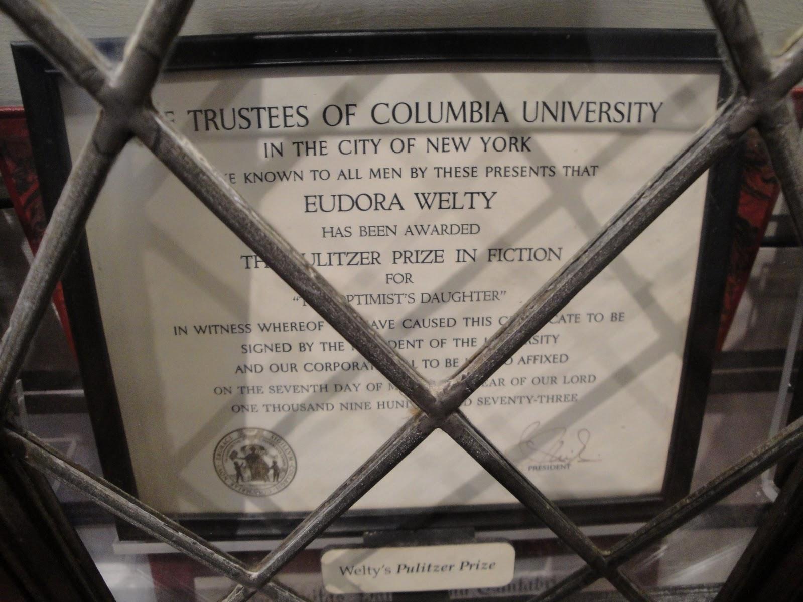 Eudora Welty's Pulitzer Prize.