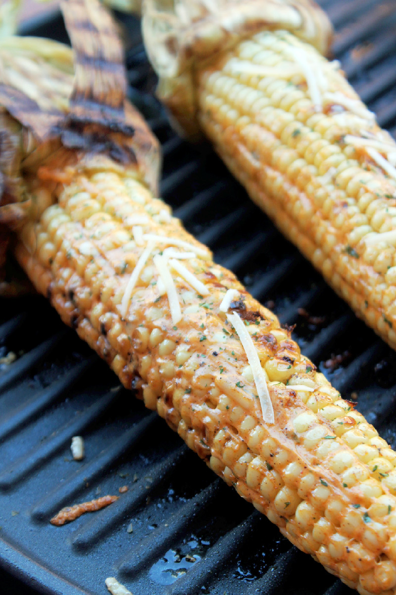 Grilled Cheesy Corn on the Cob - Not Quite a Vegan