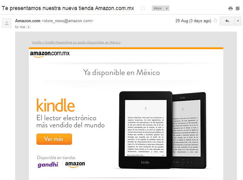 Correo que recibí de Amazon, anunciando amazon.com.mx