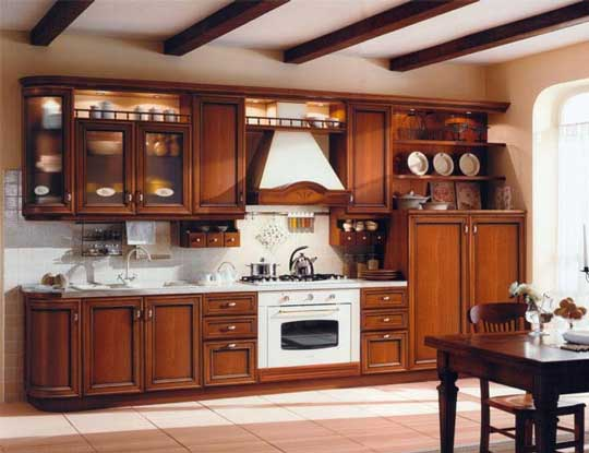 Wood design ideas latest kerala model wooden kitchen for Model kitchen design