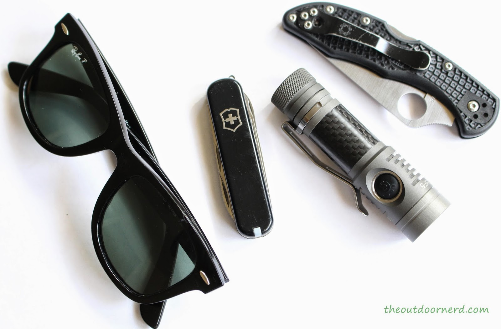 Spark SF5 1xAA Flashlight: Shown With Victorinox Executive, Spyderco Delica and RayBan Wayfarers