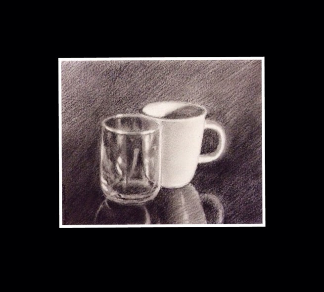 Still Life Charcoal painting of a glass and a cup by Manju Panchal