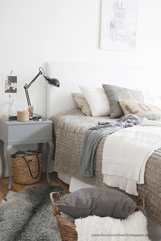 habitación estilo nórdico tonos neutros