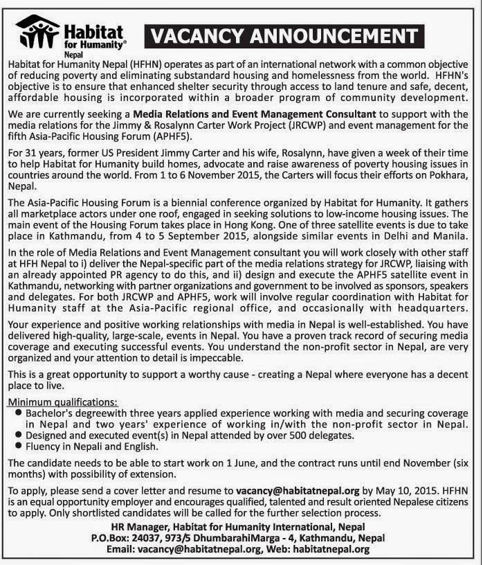 Job Vacancy Habitat For Humanity Nepal Jobs In Nepal