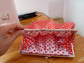 interior del bolso de tela