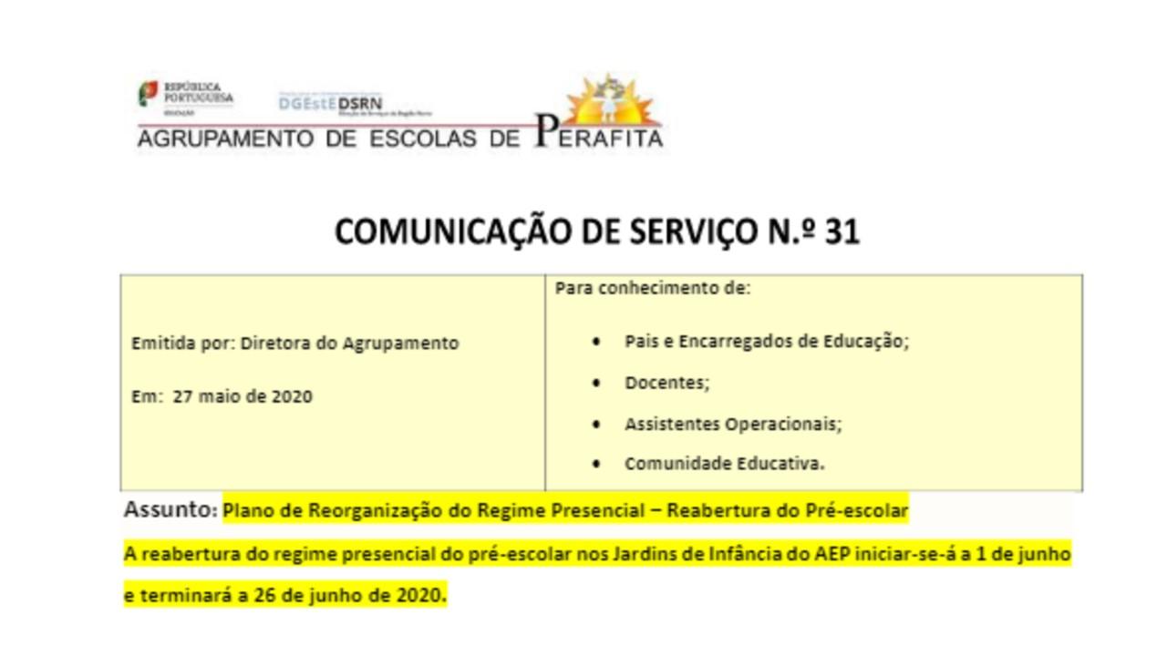 REABERTURA DA EDUCAÇÃO PRÉ-ESCOLAR - 1 a 26 JUNHO
