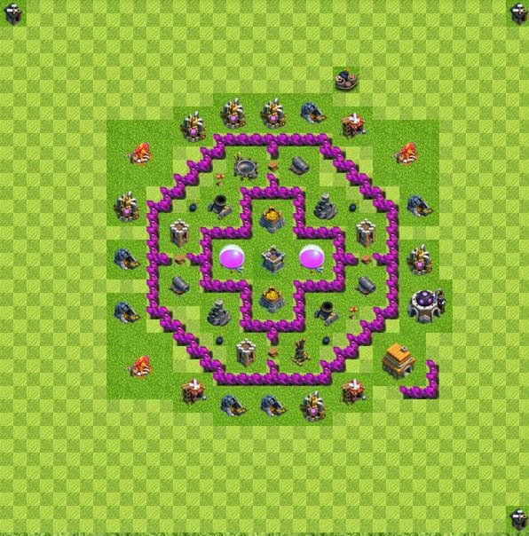 Base layout town hall level 6 tipe farming coc indonesia