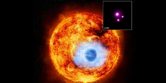 This graphic depicts HD 189733b, the first exoplanet caught passing in front of its parent star in X-rays. Image Credit: X-ray: NASA/CXC/SAO/K.Poppenhaeger et al; Illustration: NASA