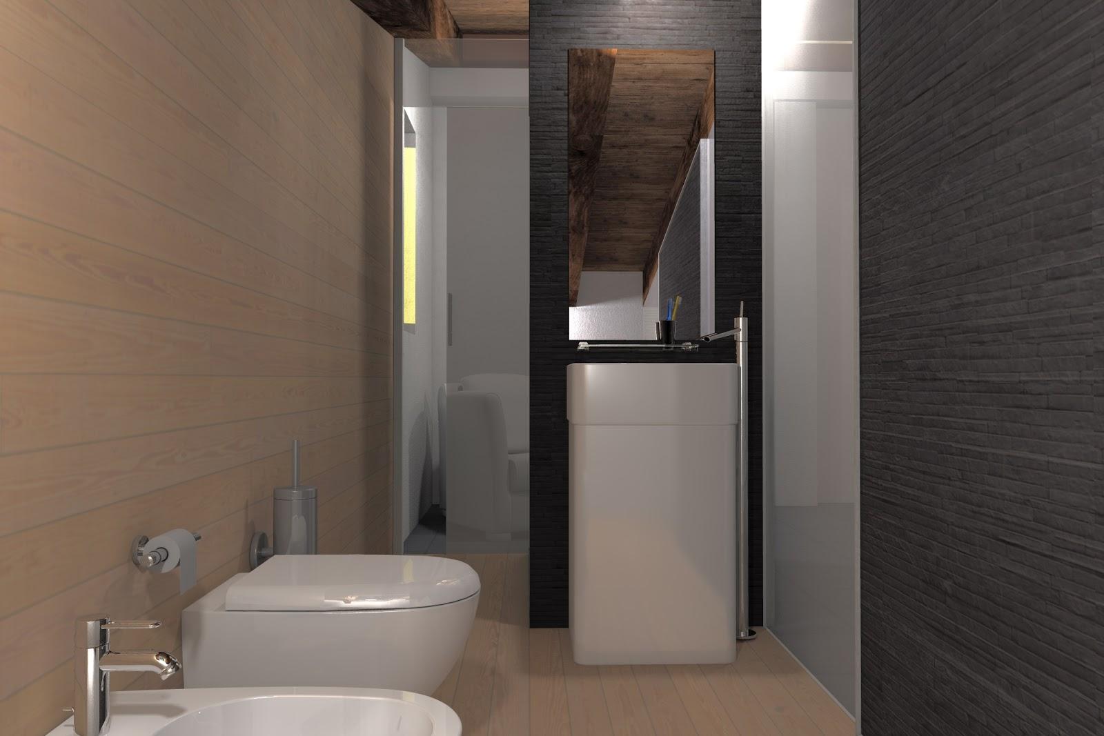Render architettonici bagno ricavato in un sottotetto - Bagno sottotetto ...