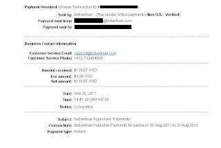 Payment proof Bidvertiser of September 2011 for$138,87