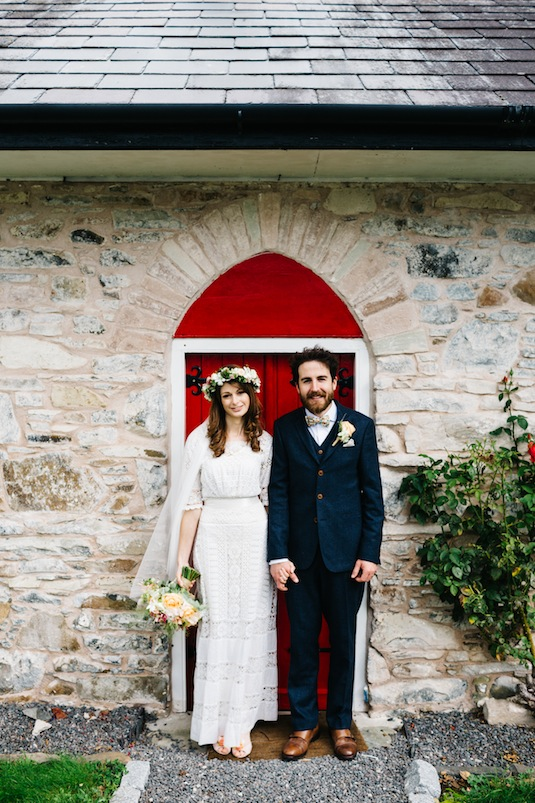 Edwardian lace wedding dress on vintage bride Ruth with Groom Conor