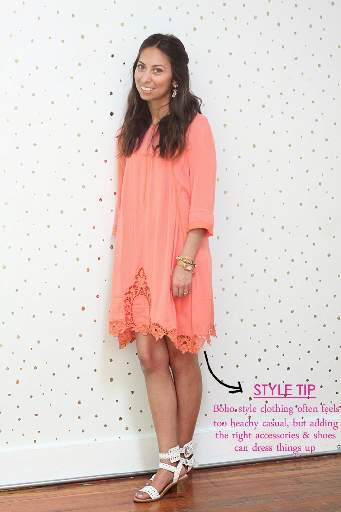 orange shift dress and white sandals
