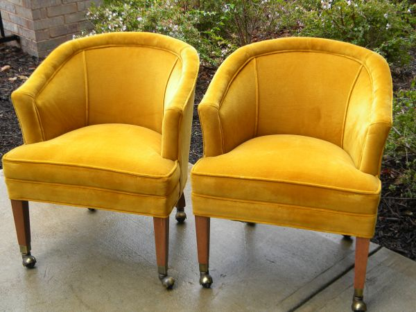 Yellow Velvet Midcentury Barrel Chairs   $350 For The Pair