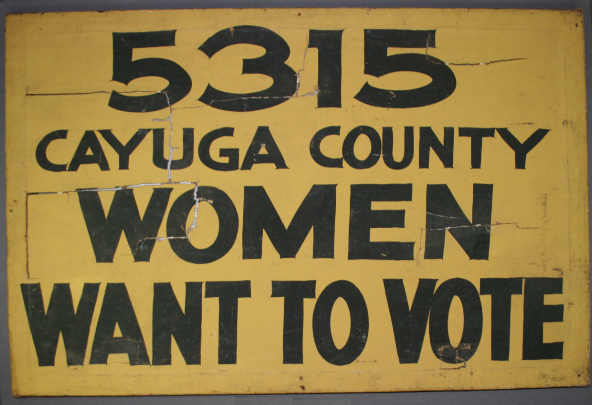 Women's Suffrage sign repaired, textile conservator, before treatment