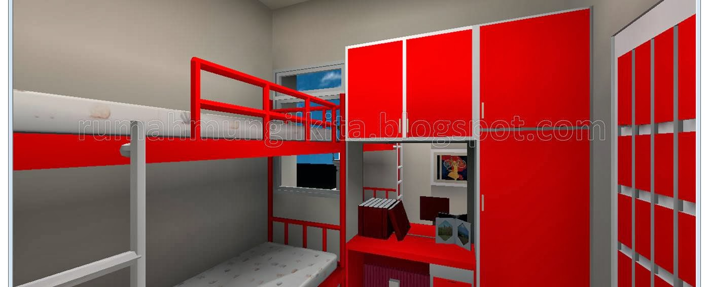 small bunk bed with desk and wardrobe