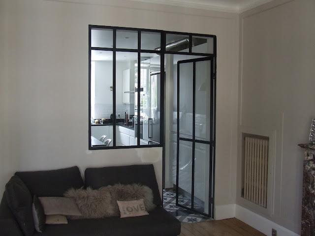 Verrière intérieure + porte vitrée, séparation cuisine/salon ...