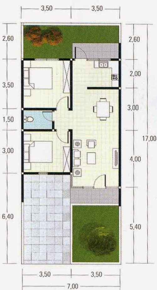 Denah Rumah Type 22 60 1 Lantai Denah Rumah Tipe 45 Gunarchitect