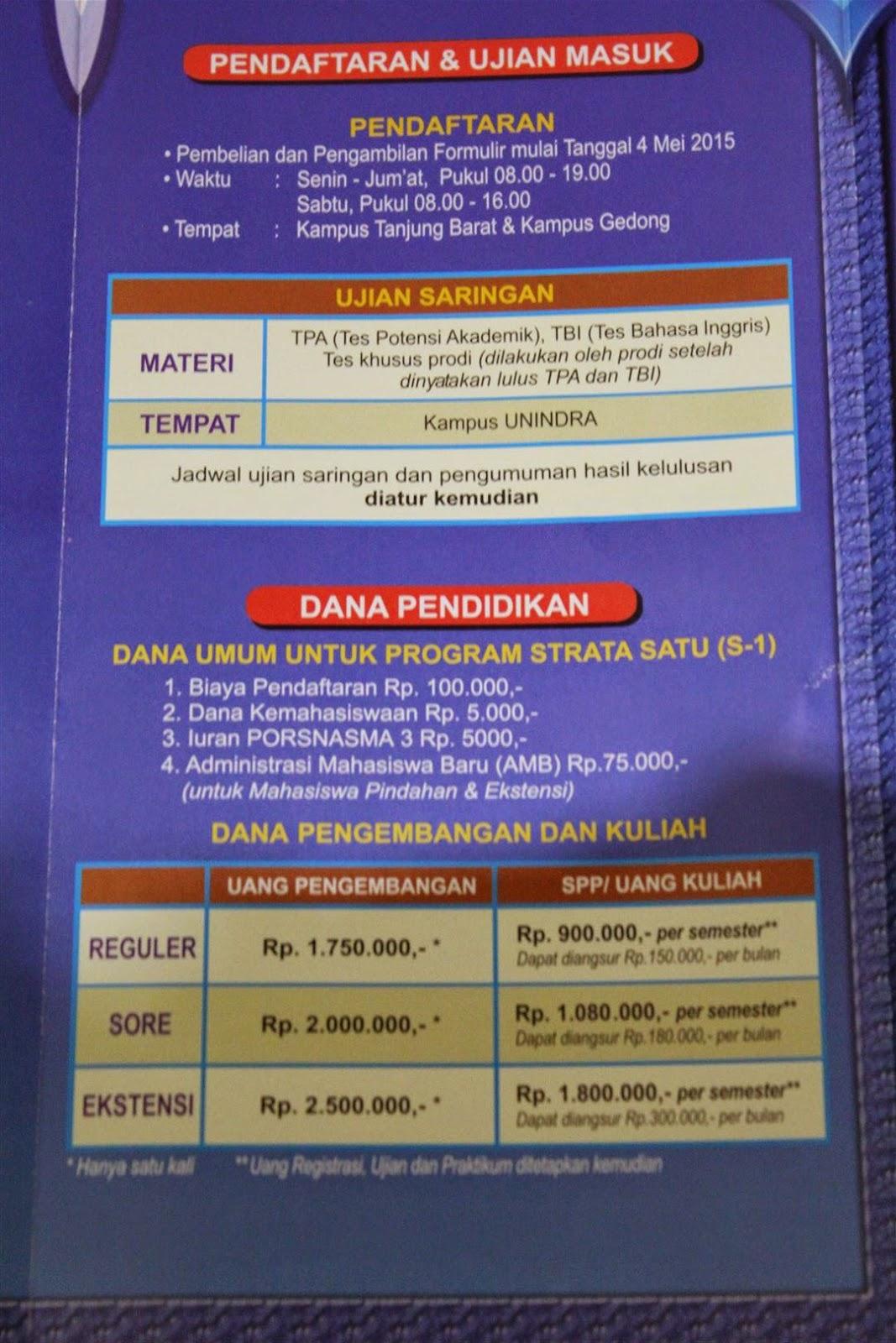 Jadwal Pendaftaran PMB UNINDRA Tahun 2015-2016