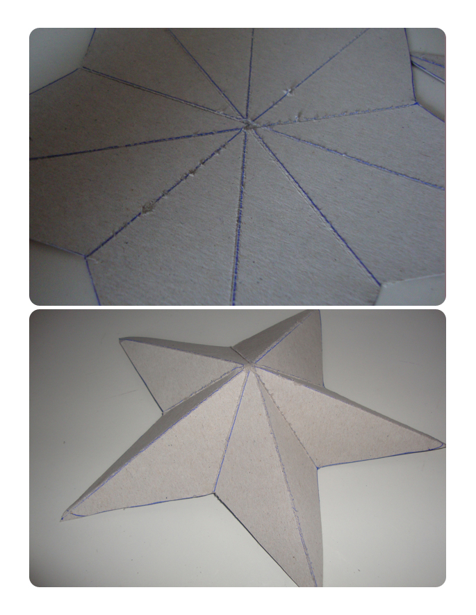 Thegluegungirl how to make shabby chic 3d cardboard stars for Make a 3d star