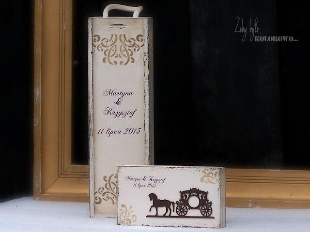 patynowane pudełko na wino