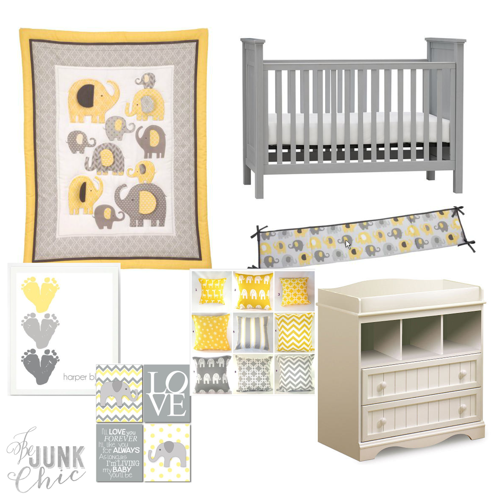 Be Junk Chic Elephant Yellow Grey Nursery