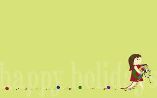 Desktop Christmas decoration happy holidays cartoon wallpaper