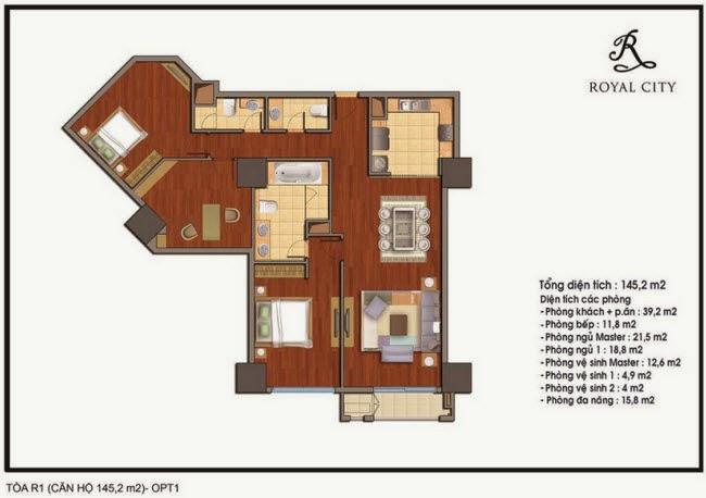 mặt bằng căn hộ 145.2m2 tòa R1 Royal City