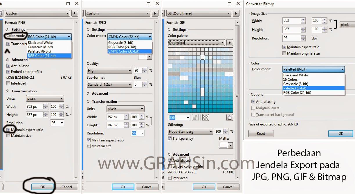 Perbedaan Jendela Export PNG JPEG GIF dan Bitmap