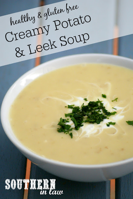 Gluten Free Creamy Potato and Leek Soup Recipe | low fat, low calorie, gluten free, healthy soup recipe