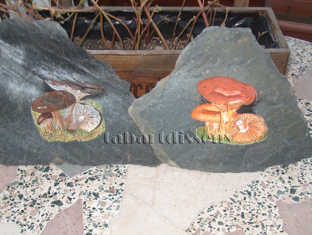 Tabartdisseny pintar piedra de pizarra setas - Piedra de pizarra ...