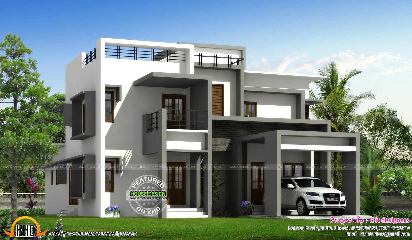 Flat Roof Contemporary Villa Kerala Home Design And