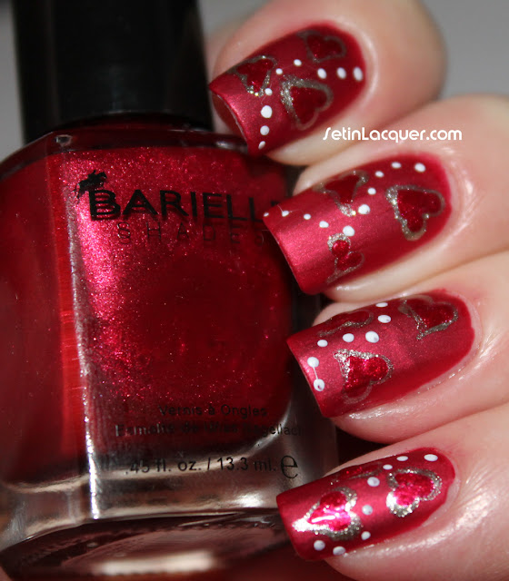 Valentine's Day nail art with Barielle and Butter London Matte top coat