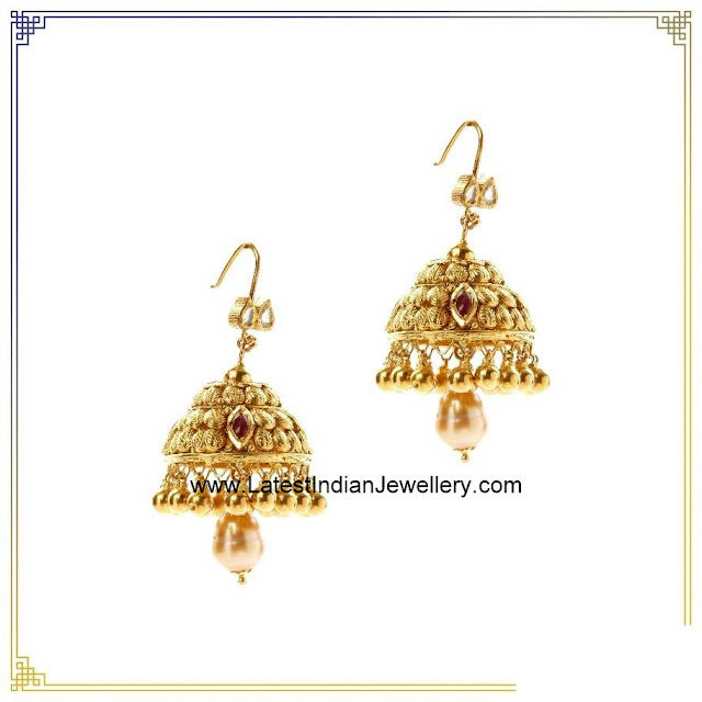 light weight gold jhumkas