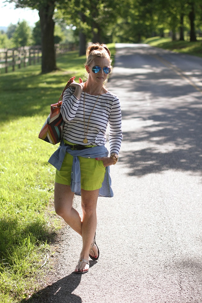 jcrew shirt, jcrew shorts