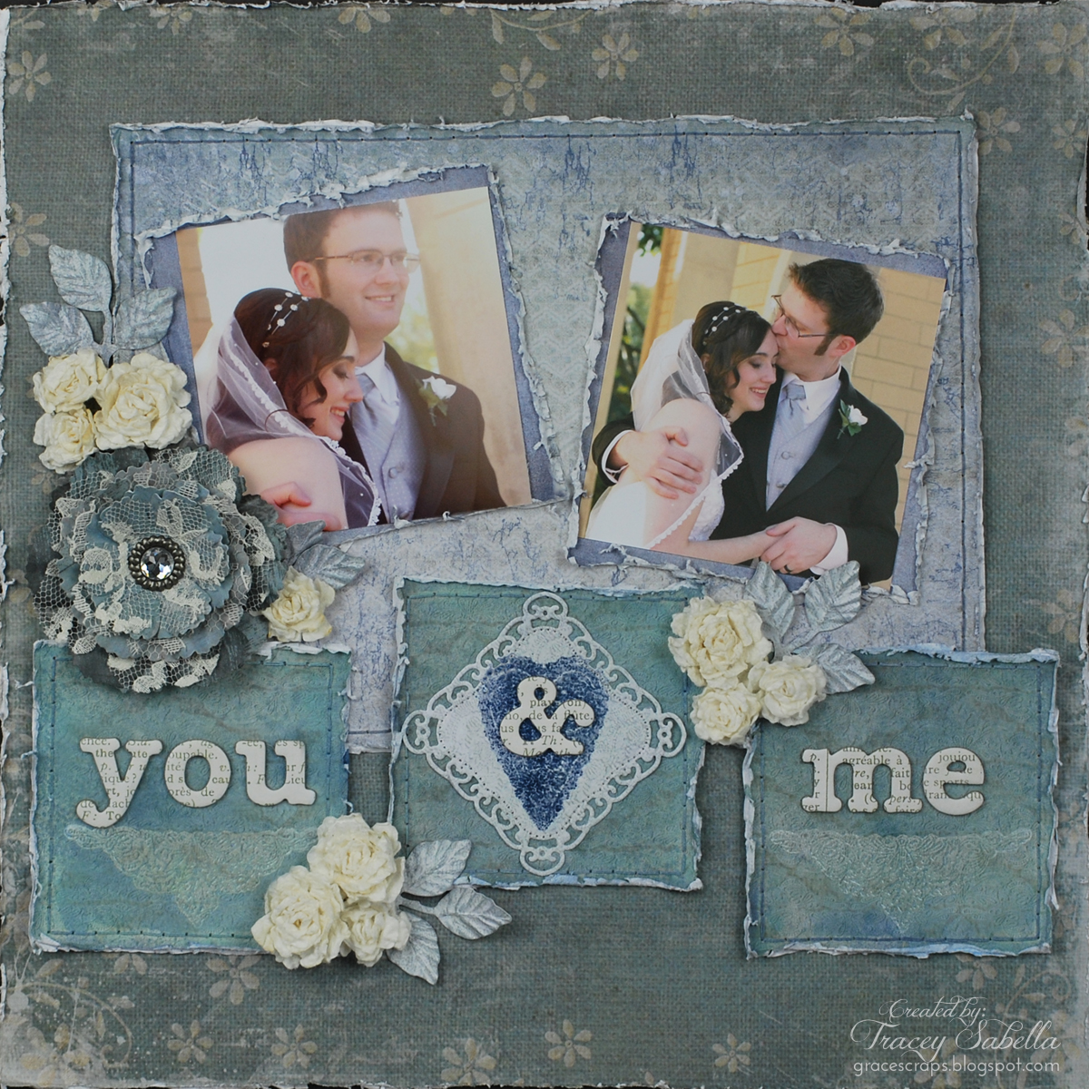 You & Me Shabby Chic Layout by Tracey Sabella for Donna Salazar.