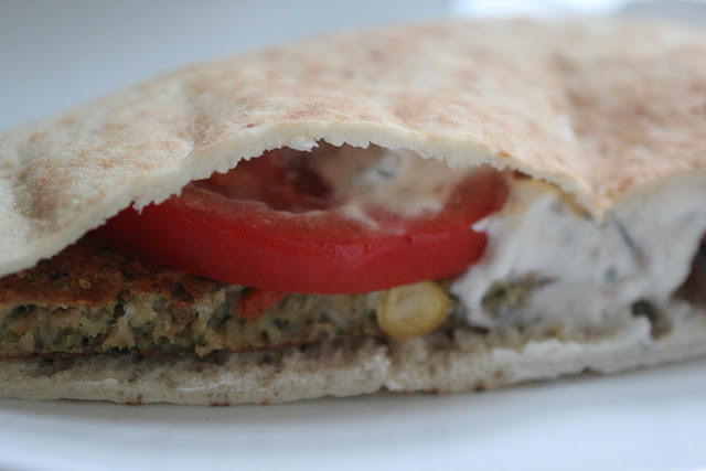 MorningStar Farms Mediterranean Chickpea Burger pita sandwich
