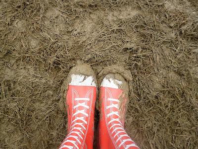 wellies in mud