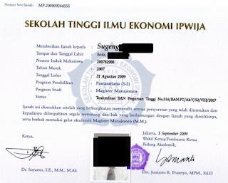 Ijin belajar PNS dan ijazah yang dikeluarkan dari universitas akreditasi C tidak diakui/ditolak BKN untuk usulan kenaikan pangkat PNS.