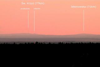 Widok na Góry Świętokrzyskie z Przyłęka