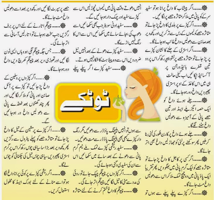 Urdu Totkay For Clothes to Clean Clothes in Urdu