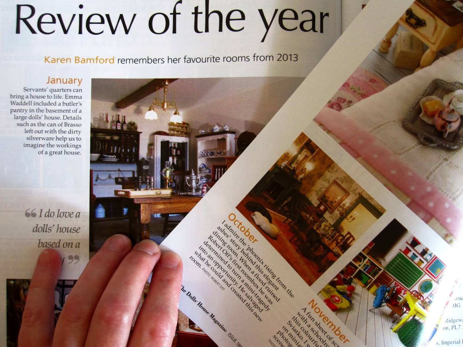 The Dolls' House Magazine's Review of the year 2013 article showing my modern miniature playroom