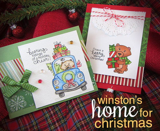 Winston's Home for Christmas Stamp set by Newton's Nook Designs - Christmas Bear Cards by Jennifer Jackson