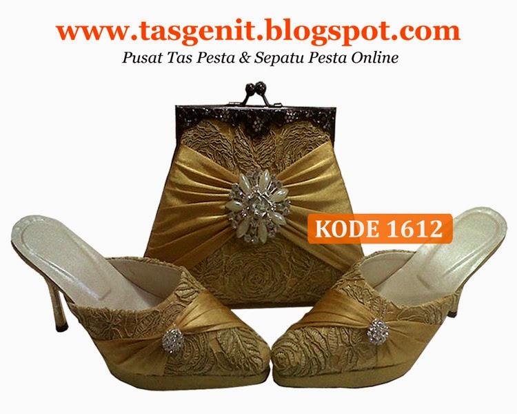 tas pesta gold, sepatu pesta gold, sepatu pengantin, dompet brokat