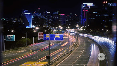 Sydney highway road at night