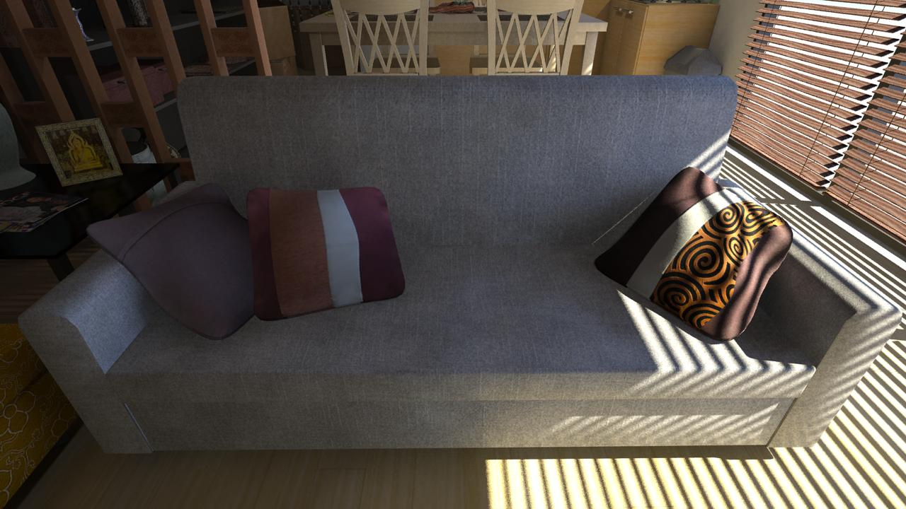 Modern thai house interior props renders