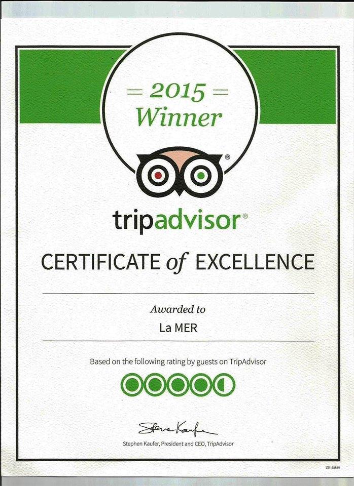 Certificate of Excellence - La Mer Resturent